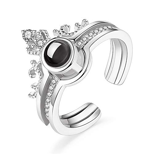 ZGBQ Crown Ring Creative 2 in 1 Detachable Finger Ring Projectable Puzzle Jewelry Engagement Wedding Ring Nano Microcarving 100 Sentences I Love You (Silver)