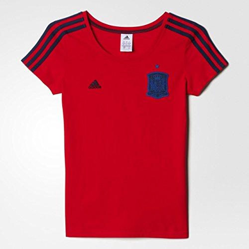adidas Federación Española de Fútbol 3S tee W - Camiseta para Mujer, Color Rojo/Negro, Talla S