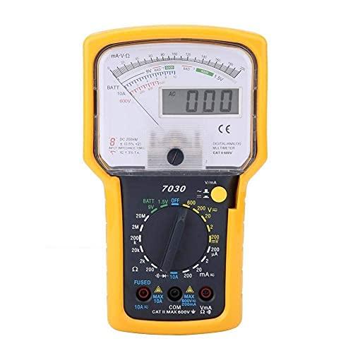 JHYS Multímetro analógico portátil de múltiples Medidas KT7030 Multímetro Digital de Alta precisión con Pantalla Digital para medir Voltaje y Resistencia CA/CC