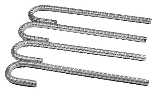 Pinnacle Mercantile Extra Heavy Duty Galvanized 1/2 inch Rebar J Hooks Stakes Anchors11 inches (4-Pack)