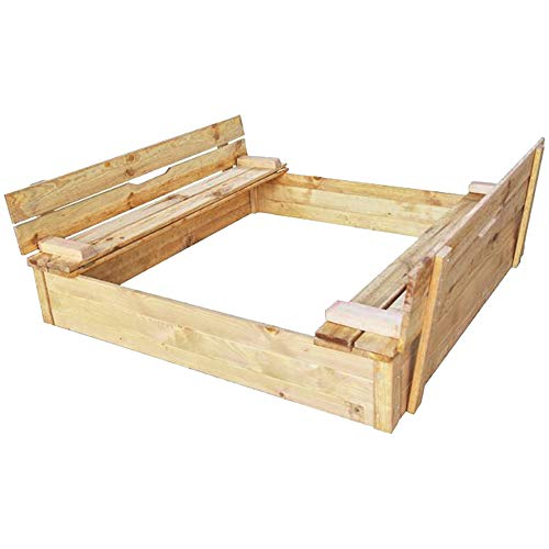 RM E-Commerce Sandkasten Holz mit Abdeckung Deckel und Sitzbank, Natur Nadelholz imprägniert, 115x115 cm, 220 Liter