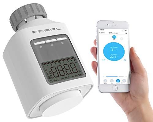 PEARL Heizkörperthermostat: Programmierbares Heizkörper-Thermostat mit Bluetooth, App, LCD-Display (Heizkörperventile)