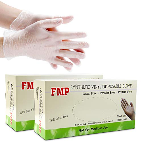 [200 Pack] Disposable Vinyl Gloves, Non-Sterile, Powder Free, Smooth Touch, Food Service Grade, Medium Size