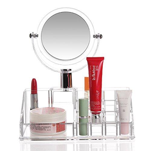 E-meoly Cosmétique Organiseur en acrylique Affichage de maquillage pour vernis à ongles, Listick, peinture Brosse de stockage de support de présentation de mode Vanity Organiseur avec miroir (N ° 27)