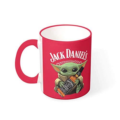 WJunglezhuang Jack Daniels Baby Yoda inspirierende Keramik-Kaffeetasse, keramik, Mred, 330ml