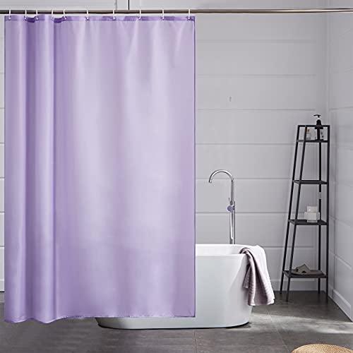 Furlinic Lila Duschvorhang,Schmaler Badvorhang Textil aus Polyester Stoff Schimmelresistent Wasserabweisend Waschbar, 150x180 mit 10 Duschvorhangringen.