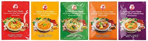 Cock Caja Mixta de Pasta de Curry Cock, 3x Amarillo, 3x Rojo, 2x Verde, 2x Matsaman, 2x Panang, Auténtica Cocina Tailandesa, Ingredientes Naturales, Halal, Vegano 600 g