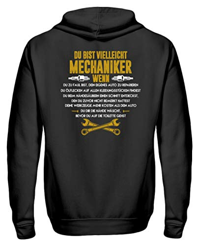 shirt-o-magic Du bist Mechaniker, wenn. - Geschenk Kfz-Mechaniker-in Kfz-Mechatroniker-in Schrauber-in - Unisex Kapuzenpullover Hoodie -XL-Jet Schwarz