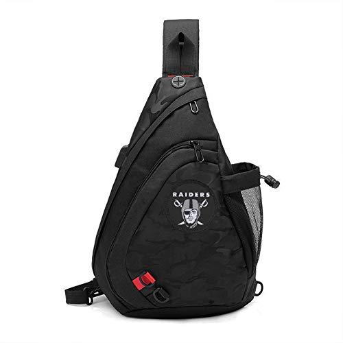 Black Sling Backpack Bag Travel Hiking Daypack With Football Team Logo - Oakland Raiders