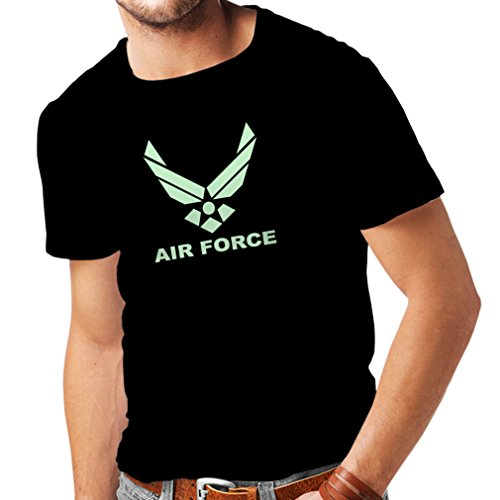 lepni.me Camisetas Hombre United States Air Force (USAF) - U. S. Army, USA Armed Forces (X-Large Negro Fluorescente)