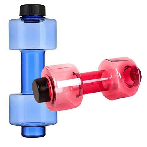 FAVOMOTO 2pcs Botellas de Agua con Forma de mancuerna Botellas de Agua Deportivas Botellas de Agua de Fitness