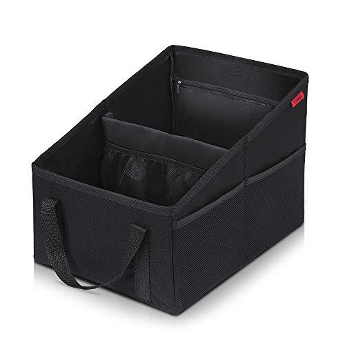 Autositz Organizer für Vorder- und Rücksitz, Sitzaufbewahrungstasche für Erwachsene und Kinder, mit Becherhaltern, Gurtbefestigung und Staufächern für Spielzeug, Bücher, Snacks und andere Utensilien