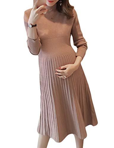 TAAMBAB Look à la Mode Étendue Robe de Maternité Femmes - Manche Longue Ruché Vêtements Enceintes De Base Robe Pull