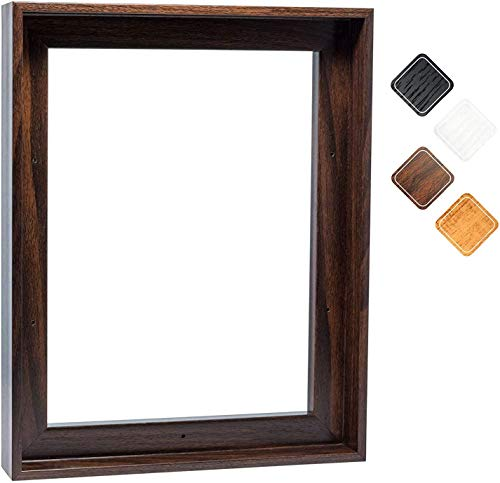 """Floating Frame for 16x20 Inch Canvas Painting 1-1/4"""" Deep, (4 Color) Picture Art Wall Decor, Dark Brown Frame"""