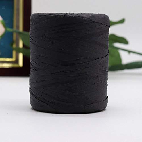 YEZINB Hilo de Rafia para Crochet Bolsa de Rafia 180 Metros Rollo Verano Hilo para Tejer a Mano Sombrero de Paja para el Sol para Sombreros, Negro