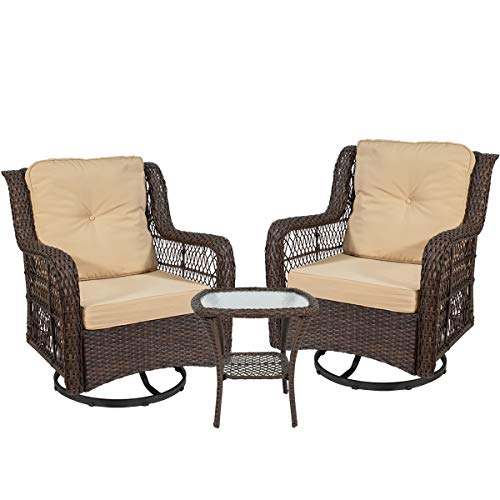On Shine 3 Piece Patio Furniture Wicker Rattan Rocker Bistro Furniture Set Out Door Furniture Set,Rocking Chair Set with Glass Coffee Table and Comfortable Cotton Cushions Brown