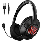 EKSA Xbox Gaming Headset - 7.1 Surround Sound Headphones with Breathable Earmuffs - Detachable Mic - Gaming Headphones for PC, PS4, Xbox One S/X, Nintendo Switch, Android