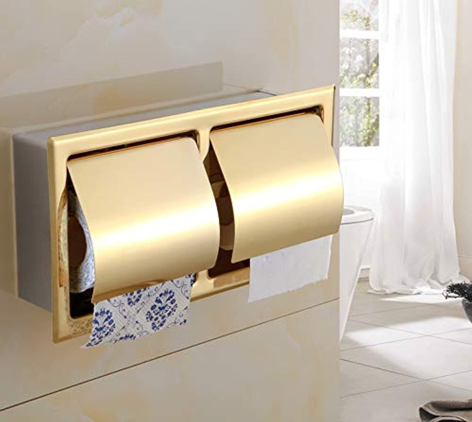 LUDSUY Sus 304 Stainless Steel Bathroom Toilet Roll Paper Holder Box Concealed Wall Mounted Recessed Tissue Paper Holder Pvd gold