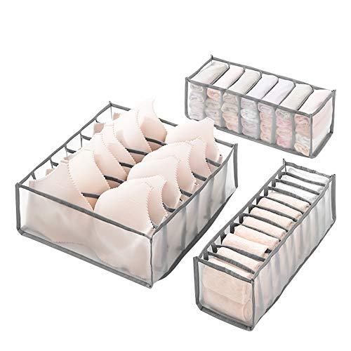Molbory Unterwäsche Schubladen Organizer, Unterwäsche Aufbewahrungsbox Faltbox Kleiderschrank Organizer für BHS, Socken, Unterhosen Und Krawatten