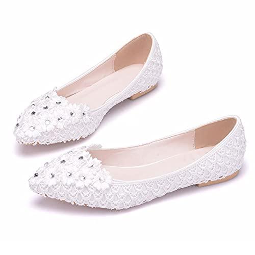 JingZhiBao Zapatos Boda Mujeres,Decoración Rhinestone Encaje Zapatos Novia Planos Talla Grande,Zapatos Dama...