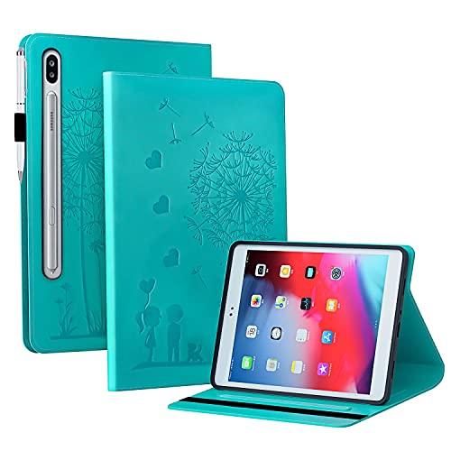 Funda para Samsung Galaxy Tab S7 11' (SM-T870/T875/T876B) + Protector Pantalla, Slim Carcasa Cuero PU Silicona y Multiángulo y Soporte Case Cover Protector - Diente de león Azul
