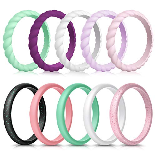 Forthee 10 Pack Silicone Wedding Ring for Women, Thin and Braided Rubber Band, Fashion, Colorful, Comfortable fit, Skin Safe,Size 5