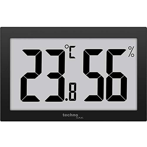 Technoline Digital XXL-Thermometer Hygrometer XXL WS 9465 Thermometer gut ablesbar schwarz mit Jumbo LCD für Büro Hotel Foyer