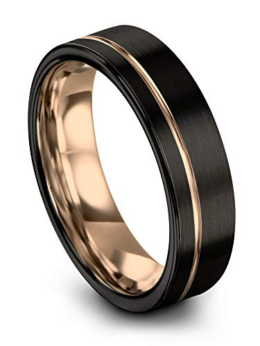 Midnight Rose Collection Tungsten Wedding Band Ring 7mm for Men Women 18k Rose Gold Plated Flat Cut Off Set Line Black Brushed Polished Size 7.5