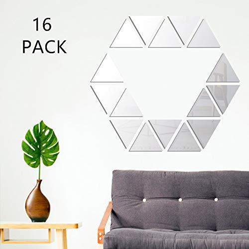 Spiegel Wandaufkleber 16PCS DIY Home Decorative Selbstklebende Dreieck Acrylspiegel Art Sheet Kunststoff Spiegelfliesen für Wohnzimmer Schlafzimmer Sofa TV Hintergrunddekoration Dekor (Dreieck)