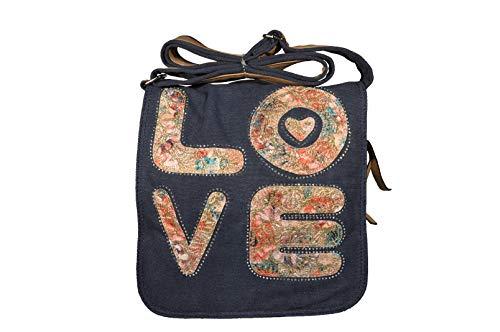 k:s me Schultertasche Love • Tasche canvas für Mädchen • Tasche für Damen • mit Magnetverschluss • Messengerbag (Blau)