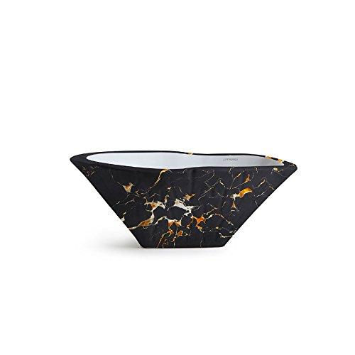 Vasque Lavabo à Poser/Suspendu Ovale Terra Portoro en céramique - 54x46xh20 cm (avec bassin blanc)