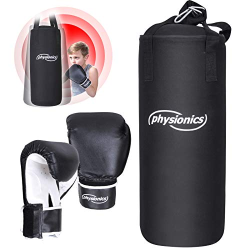 Physionics® Kinder Boxsack-Set - mit Boxhandschuhen 8oz, Gefüllt, Ø25 cm, H60 cm, Gewicht 8.7kg, Karabinerhaken, für Junior Training - Sandsack, Kickboxen, MMA, Kampfsport, Muay Thai, Punching Bag