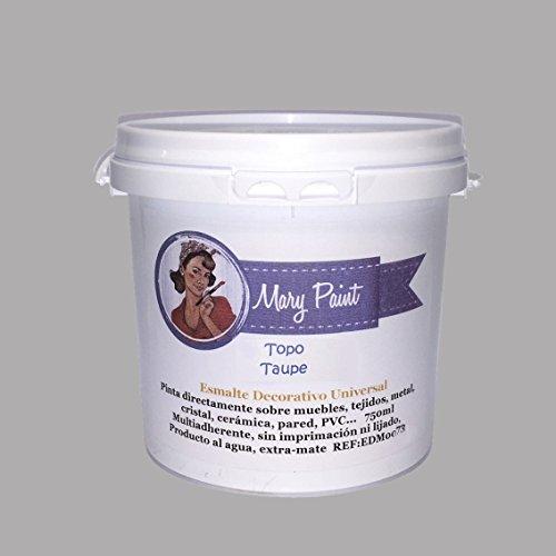 Mary Paint   Pintura para muebles efecto Chalk Paint, Gris Topo - 750ml