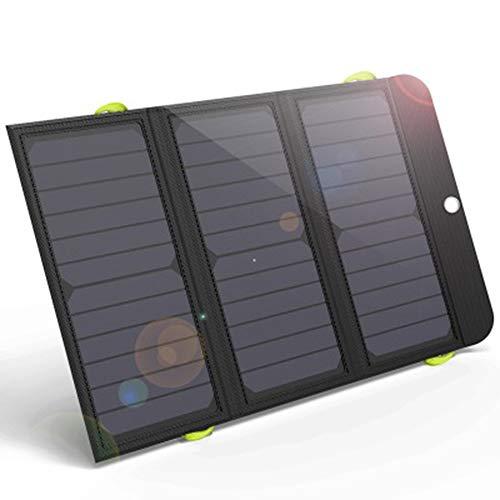 WYZQ Cargador Panel Solar 21W 6000mAh Dual USB y USB-C Puertos Placa Batería Plegable para Móviles, Tablets y Otros Dispositivos