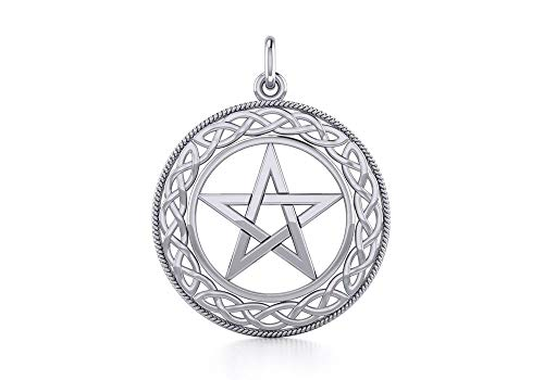 Jewelry Trends Celtic Knot Pentacle Pentagram Star Sterling Silver Pendant Necklace 18'