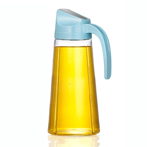 WCP WLQ Öler - Automatic Open Cap Tank - Glas auslaufsicher Öl Flasche - Küche Sauce Flasche - Haushalt Essig Topf - Gewürz Flasche,Blau,Glas