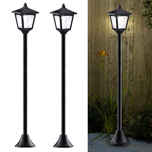 40 Inches Mini Solar Lamp Post Lights Outdoor, Solar Powered Vintage Street Lights for Lawn, Pathway, Driveway, Front/ Back Door, Pack of 2