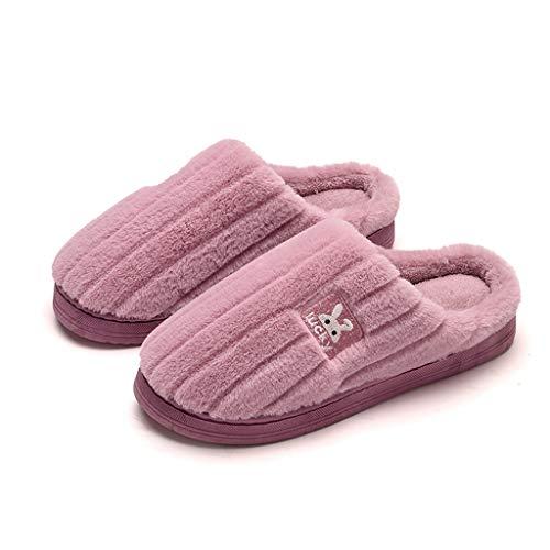 HYAN Parejas Grandes Zapatillas de Interior Zapatos de Interior for Mujer Invierno cálido Piso Antideslizante Hombre Hombre Zapatillas cálidas (Color : Purple, Shoe Size : 36)