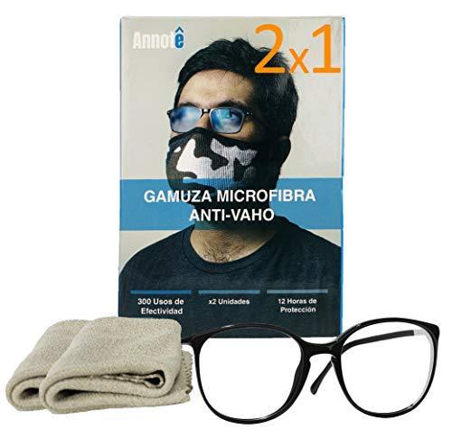 2 x 1 GAMUZA MICROFIBRA ANTI-VAHO GAFAS x 2 UNIDADES - Premium Gamuza Anti Vaho Cristales Gafas - Toallitas Gafas Antivaho - Antiempañante Gafas 300 Usos + 12 HORAS DE PROTECCIÓN