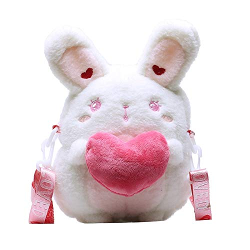 Nrpfell Bolso de Mensajero de Conejo Lindo para NiiA, Bolso de Almacenamiento, Bolso de Mensajero, Bolso de Hombro de Dibujos Animados, Bolso de Conejo Blanco para NiiA