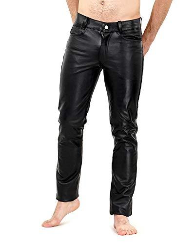 Bockle® HIM Lower sehr tief sitzende Herrenlederhose schwarz Lederhose Herren Leder Jeans Tube Röhre Skinny Slim Fit Herren 501 Lederhose Herren, Size: W40/L36