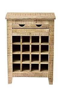 "SIT-Möbel 2537-01 Weinregal ""Frigo"", 58 x 35 x 80 cm, Mango-Holz massiv, mit Kühlschrankgriffen, natur lackiert"