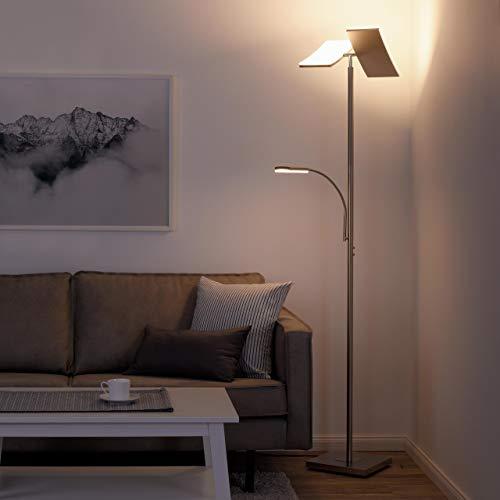 LED Stehlampe dimmbar | Deckenfluter mit flexibler Leselampe aus Edelstahl | Moderne Stehleuchte mit Tastdimmer | warmweißes Licht, 1740 Lumen für Wohnzimmer, Büro und Schlafzimmer