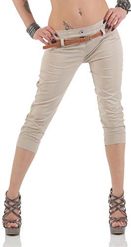 Malito Capri-Pantalones con imitación de Cuero cinturón 5398 Mujer (S, Beige)