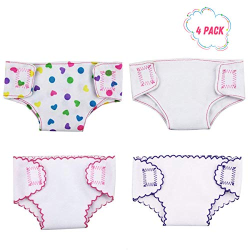 DC-BEAUTIFUL 4 Pack Baby Diapers Doll Underwear for 14-18 Inch Baby Dolls, American Girl Doll