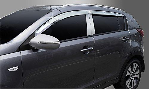 Zubehör für KIA Sportage 2010-2015 Windabweiser Regenabweiser verchromt Tuning 4 Teile für vordere und hintere Seitenfenster Safe Window Visor Chrome
