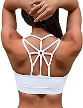 YIANNA Women's Padded Sports Bra Cross Back Medium Support Wirefree Strappy Workout Activewear Running Yoga Bra,YA-BRA139-White-S