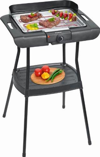 Elektro Standgrill mit Windschutz Tischgrill Barbecue-Grill Elektro-Grill mit Fettauffangschale für Innen- und Außenbereich (leistungsstarke 2000 Watt, eine große Grillfläche + abnehmbares Grillrost)