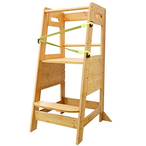 X XBEN Soporte para ayudante de cocina para niños pequeños, torre de pie con estantes ajustables, escalón de torre para niños pequeños con barra de seguridad de bambú sólido natural 🔥