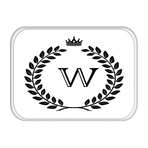 Matten in gang Deurmat Kroonbrief Eenvoudig Klassiek Zwart Wit Decor Home Polyester Antislip Stofdicht Woonkamer Tapijt-EEN_50 * 80